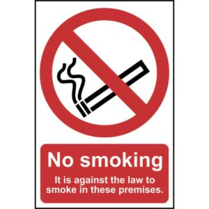 No smoking it is against the law to smoke-Self Adhesive Sign 200x300mm