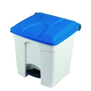 Pedal Bin Container 30L White Body, Coloured Lid 410 x 398 x 435mm