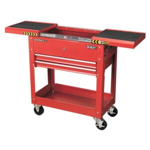 Red 2 Drawer Tool Trolley with Sliding Top box 770L x 370w x 830h