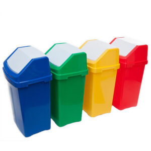 Red 50 Litre Swing Top Recycling Bin with Graphic of Choice