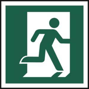 Running man symbol (Right) - Self Adhesive Sticky Sign (150 x 150mm)