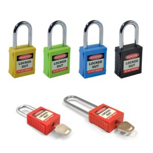 Safety Lockout Padlock, Compact Shackle, Red
