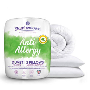 Slumberdown Anti-Allergy 10.5 Tog Duvet (Single) with 2 Medium Pillows