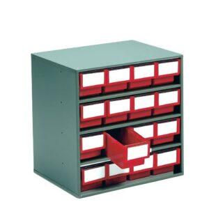 Small Parts Colour Bin Cabinets Red 16x 82h x 92w x 300d Bins