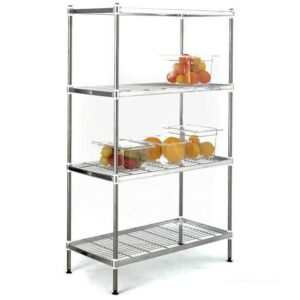 Stainless Steel Wire Shelving with 4 Shelves 1800 x 450 Extension Bay