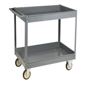 Steel tray service trolley with 2 shelves