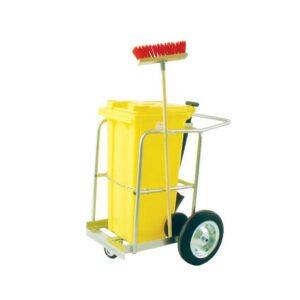 Street Cleaning Barrow with 120L Grey Wheelie Bin, Brush And Shovel