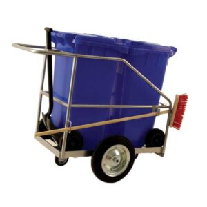 Street Cleaning Barrow with 2 x 120L Grey Wheelie Bins, Brush And Shovel
