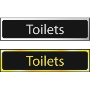 Toilets Sign - Polished Chrome Effect (200 x 50mm)