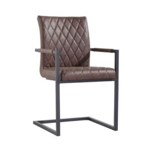 Urban Bauhaus Diamond Stitch Carver Dining Chair Brown