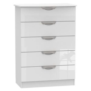 Weybourne 5 Drawer Bedroom Chest White Gloss