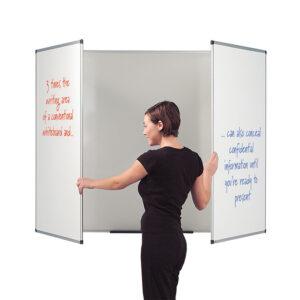 3 panel space saving whiteboard 900 x 2400