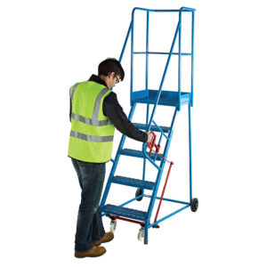 Mobile Braked Industrial Safety Steps - 14 treads, Platform size 550 x 380mm