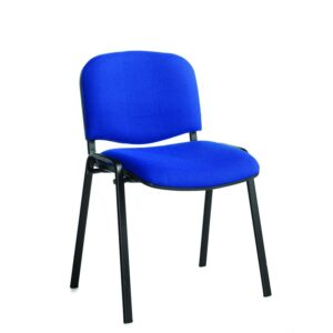 Stackable Padded Office Chairs - Blue Fabric, Chrome Frame