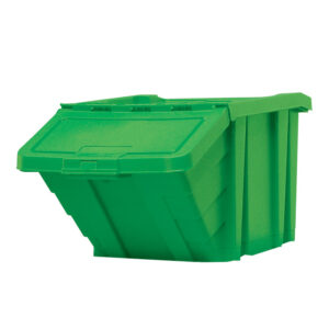 Stackable Recycling Box Bins With Hinged Lid - Yellow Finish