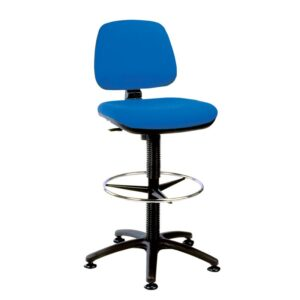 Upholstered High Lift Counter Chair with Glide Base - Blue Fabric